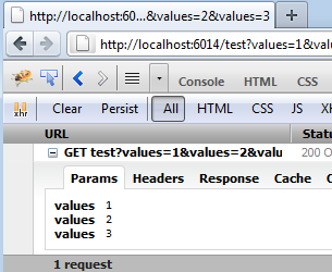 Screenshot: Firebug showing the GET Params
